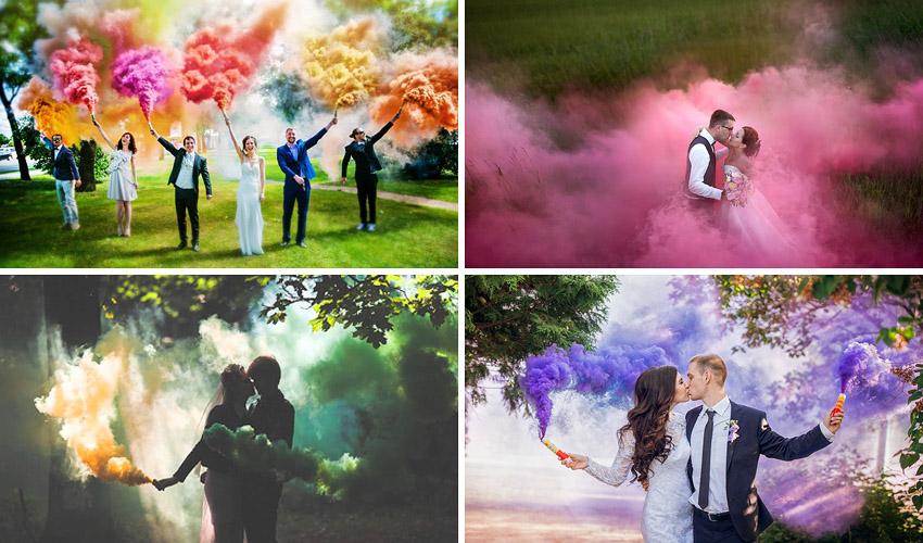 фотосессия с цветным порошком и дымом