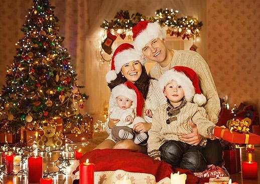 Семейная Новогодняя фотосессия в студии или дома